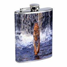 Tiger Waterfall Em1 Flask 8oz Stainless Steel Hip Drinking Whiskey