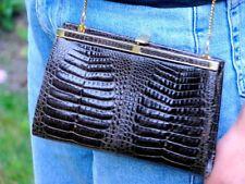 Nachlass: Exotique IRV Damen Kroko Abendtasche in Grau mit Gold Schulterkette