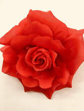 "Large red flower clip 5"" / bridesmaids hair flower / red flower brooch pin / lar"