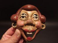 Antique Vintage Style Cast Iron folk art 4 eyed Drunk Woman Wall Bottle Opener
