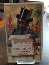 Rare 1880s 2 sided Trade Card - Black Americana Kingsleys Clothing Utica Ny