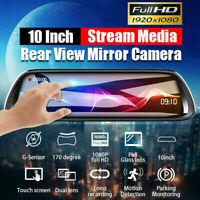 "US 10"" HD 1080P Dual Lens Car DVR Dash Cam Video Camera Recorder Rearview Mirror"