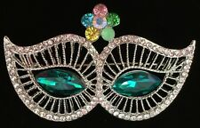 GREEN THEATER MUSICAL NEW YEARS MARDI GRAS MASQUERADE PARTY MASK PIN BROOCH 2""