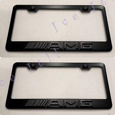 2X 3D AMG Mercedes Carbon Fiber Emblem Black Stainless Steel License Plate Frame