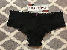 S Victoria's Secret PINK Super Soft Lace Cheekster Cheeky Panty Underwear Black