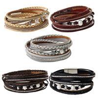 PU Leather Wrap Around Multilayer Bracelet Wristband Rhinestone Crystal