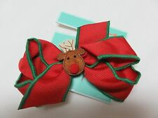 Copper Key Girls Reindeer Christmas Bow NWT
