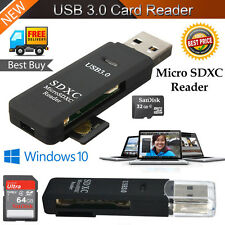 High Speed 2 in 1 USB 3.0 Memory Card Reader Flash Adapter Micro SD SDXC TF UK