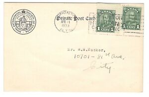 1933 Canada - Edmonton, Alberta Slogan Cancel - Astronomical Society Postcard