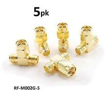 5-PACK SMA Jack-Plug-Jack 1 Male/2 Female RF coaxial T-Adapter, RF-M002G-5