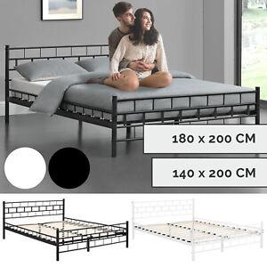 Metallbett Bettgestell Metall Schlafzimmer Bett Doppelbett + Lattenrost ArtLife®