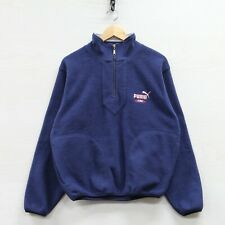 Vintage Puma King Fleece Jacket Size Small Blue Embroidered 1/2 Zip Pullover