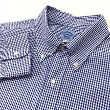 Mercer & Sons Button Down Collar Shirt White Blue Seersucker Gingham Check 18 35