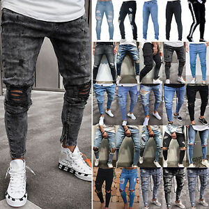 Xturfuo Mens Personality Hole Ripped Slim Fit Zipper Stretch Denim Straight Jeans Trousers Plus Size