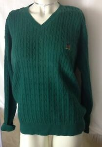 Tommy Hilfiger Cable Knit Sweater Medium Green Cotton Crest Block Logo LS V Neck