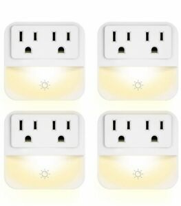 POWRUI LED Night Light Plug-in Sensor Control 3-lvl brightness w/ Outlets 4pc