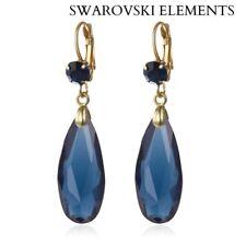 Boucle d'oreilles goutte d'eau facettes Swarovski® Elements bleu/vert