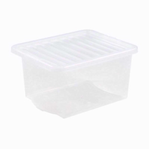 35 Ltr Plastic Crystal Clear Storage Box with Lid-Stackable UK