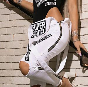 By Alina Mexton Damen Overall Latzjeans Jumpsuit Boyfriendjeans Zipper Weiß S-M