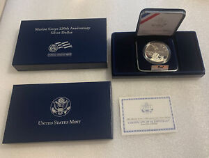 2005 Marine Corps 230th Anniversary Uncirculated Proof Silver Dollar. 90% Silver
