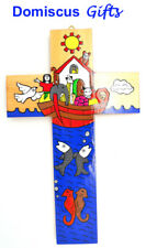 """10"""" New! NOAH'S ARK Animal Hand-Painted WOODEN Wall CROSS Religious Christian"""