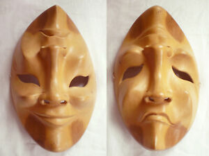 Balinese Hand Carved WOOD MASK Drama Comedy Tragedy Happy Sad Wall Art INDONESIA