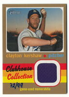 CLAYTON KERSHAW 2020 TOPPS HERITAGE CLUBHOUSE COLLECTION GOLD JERSEY #72/99