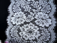 """10"""" Wide White Floral Eyelash Chantilly Lace Fabric for Lingerie Table Runners"""