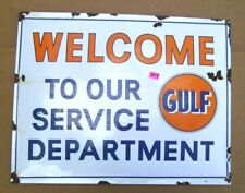 Gulf Gas Motor Oil Welcome To Our Service Department Enamel Sign Gas & Oil  204
