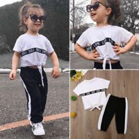 2pcs Kid Baby Girls Clothes Tracksuit Top T Shirt +Pants Outfits Set Casual USA
