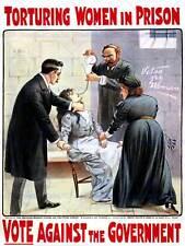 Propaganda suffrage women cat souris grève de la faim torture uk posterbb 6895B