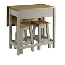 Premium Corona Pine Solid Grey Washed Pine Breakfast Table & Stools