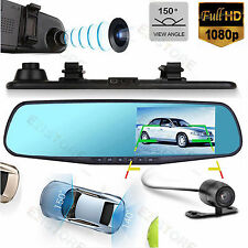 "1920x1080P Dual Lens + 720P Rear View 4.3"" Car VEHICLE Mirror DVR Camera Recorde"