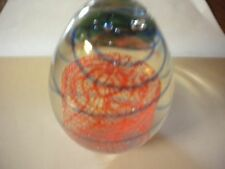 Red & Blue Glass Egg Shaped Swirl Paper Weight