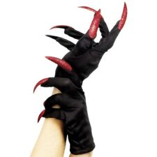 Women's Black Gloves & Glitter Nail Evil Claw Hands Halloween Fancy Dress Witch