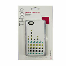 New OEM T-Mobile Peekaboo Case For iPhone 5 / 5S Dual Layer Flex White & Blue