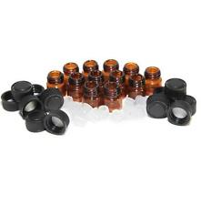 12pc 1 ml Amber Essential Oil Bottle with Orifice Reducer and cap NEW