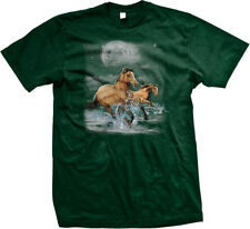 Horses Wild Ride Brown Beach Water Running Moon Clouds Free Splash Men's T-Shirt