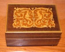 """Vintage Reuge Music Box, inlaid wood, plays Romeo and Juliet, working, 4""""x3""""x2"""""""