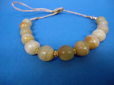 """ITALIAN NATURAL 25"""" AGATE NECKLACE 12mm AGATE MARBLES GOLD THREADED STRAND"""