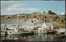 GASPE QUEBEC Grande-Gaspe Fishing Harbour & Boats Vintage Postcard Old Canada PC