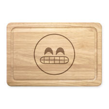 Awkward Teeth Face Emoji Rectangular Wooden Chopping Board - Funny