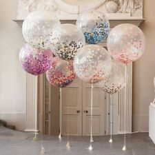 1pc 90 60cm GIANT CRYSTAL CLEAR CONFETTI BALLOONS Metallic Rose Pink Gold Silver