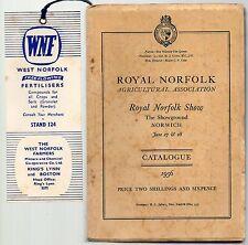 ROYAL NORFOLK SHOW THE SHOWGROUND JUNE 27 & 28 1956 CATALOGUE + PLAN MAP