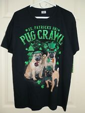 New Mens Large 42-44 T-Shirt St. Patrick's Day Pug Crawl Dog Black 100% Cotton