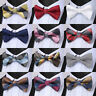 Mens Check Woven Silk Pre Tied Classic Butterfly Bow Tie Wedding Party