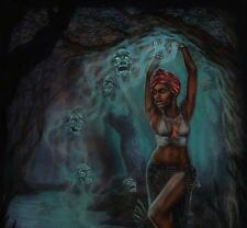 """ORIGINAL PULP ILLUSTRATION GHOST HORROR COVER STYLE ART PAINTING """"VOODOO QUEEN"""""""
