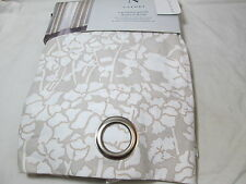 New N Natori 2 Grommet Cotton Window Panels 84x84  ABSTRACT FLORAL - Tan & White
