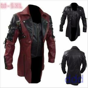 Men's Steampunk Gothic Leather Coat Goth Matrix Trench Coat Nightclub Cosplay us