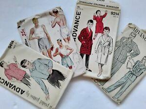 4 Vtg Advance Mens Boys Sewing Patterns 1950s '60s Boxers Pajamas Shirts Robes
